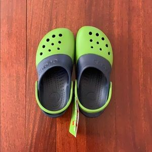 Blue and green crocs